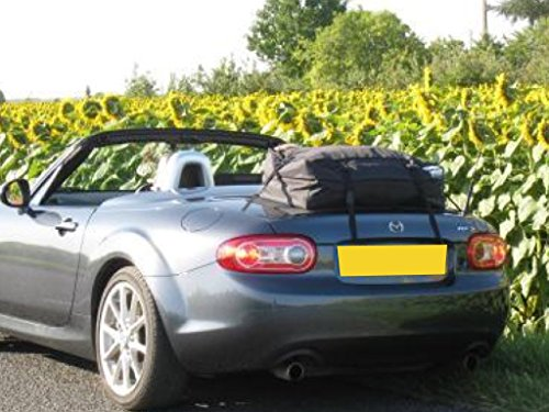 Mazda Miata Roadster Trunk Luggage Rack : Unique Waterproof Luggage Bag Straps to Trunk Lid Sits on Soft Non Slip Mat to Protect Paint. Hand Made in England Since 2008
