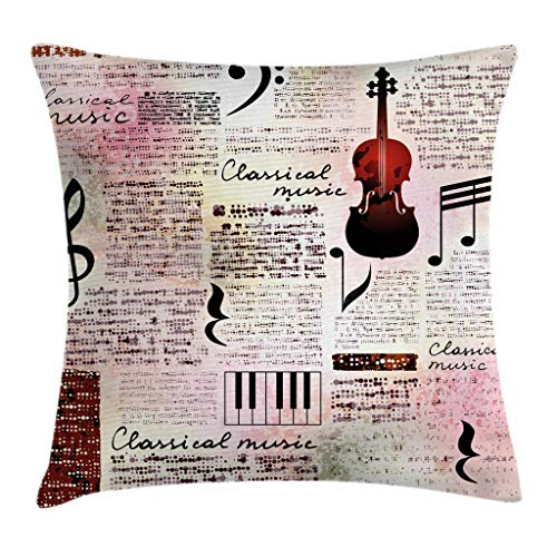 "Ambesonne Old Newspaper Throw Pillow Cushion Cover, Classical Music Theme Instruments Piano Violin Notes Art, Decorative Square Accent Pillow Case, 18"" X 18"", Pink Black"