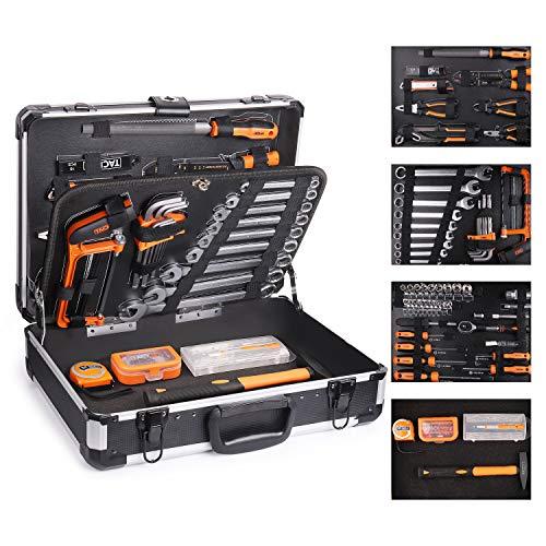 TACKLIFE Malette Outils en Aluminium 136 Pièces, Caisse a Outils, Outillage, Ensemble d'outils multifonctions à main - HHK4B