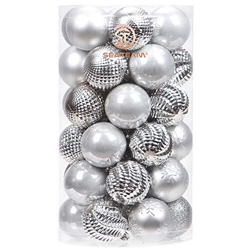 Sea Team 41-Pack Christmas Ball Ornaments with Strings, 60mm/2.36-Inch Medium Size Baubles, Shatterproof Plastic Christmas Bulbs, Hanging Decorations for Xmas Tree, Holiday, Wedding, Party, Silver