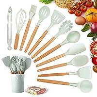 Photo Gallery kagoling utensili cucina set, utensili cucina silicone con manico in legno duro utensili da cucina termoresistenti al calore e antiaderente strumento di cottura (12 pezzi)