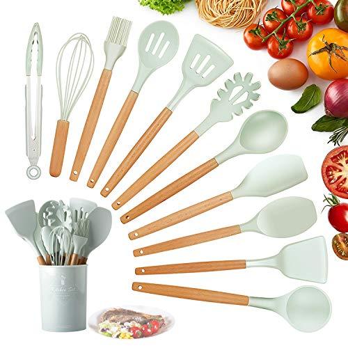 Utensilios Cocina de Silicona,KagoLing 12 Piezas Juego de Utensilios de Cocina Resistentes al Calor y Antiadherentes con Mango de Madera para Utensilios