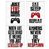 Juego de 4 carteles con cita inspiradora para videojuegos, l