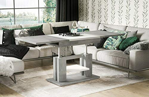 Endo-Möbel, salontafel Iso in hoogte verstelbaar, dubbelift, functietafel, uittrekbaar, 110 cm, 170 cm beton