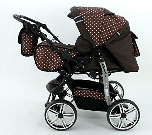 Kombi Kinderwagen Babywagen Sportwagen Travel System Buggy Pascal von Karex 3in1 + Babyschale Carlo 0-10kg + Zubehör