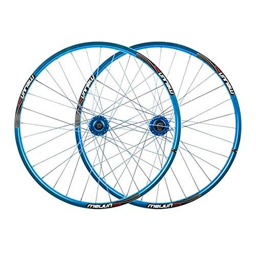 LSRRYD Ciclismo Ruedas Rueda Mountain Bike 26' MTB Juego Ruedas Bicicleta Freno Disco Compatible 7 8 9 10 Velocidad Llanta Aleación Doble Pared 32H (Color : Blue)