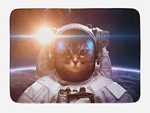 "Ambesonne Space Cat Bath Mat, Brave Astronaut Kitty in Space Suit Above World with Lunar Eclipse Backdrop, Plush Bathroom Decor Mat with Non Slip Backing, 29.5"" X 17.5"", White Blue"