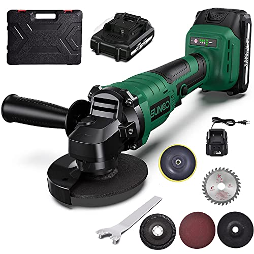 Angle Grinder Tool, SUNCOO 21V 4-1/2-Inch Grinders Cordless Die Grinder with 1 Grinding Wheels, 2 Cutting Wheels, and Auxiliary Side Handle,2 pc 2.0Ah Lithium-Ion Battery & Charger