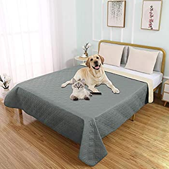 SUNNYTEX Waterproof Dog Bed Cover Pet Blanket for Couch Sofa Anti-Slip Furniture Protrctor 5282 ,Grey