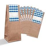 10 kleine braune Geschenktüten + Pergamin-Einlage Papiertüten + beschreibbarem Aufkleber Sticker blau weiß kariert (7 x 20,5 x 4 cm) bayerische Verpackung give-away Mitgebsel Bayern