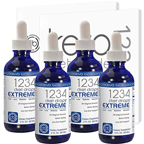 Creative Bioscience 1234 Diet Drops Extreme - Weight Loss Drops with Key Amino Complex for Keto Diet, Intermittent Fasting, 1234 Diet, 2 Fl Oz (4 Pack)