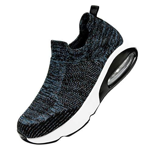 Women's Fashion Sneakers Casual Platform Loafers Atmungsaktives Netz Sock Shoes, Dark Blue, 6.5-7 M US