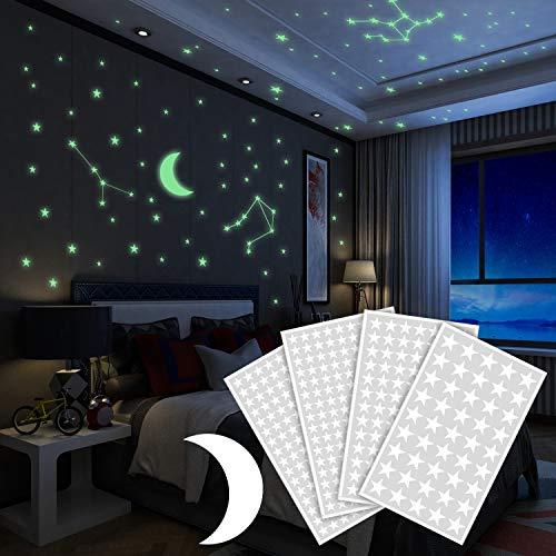 Adesivi da Parete Fluorescenti 425pcs, Yosemy 4 Pezzi Stelle Fluorescenti e 1 Pezzi Luna Decorazione Adesivo Camera da Letto Cameretta Finestra Soggiorno Regalo di Feste Natale Compleanno per Bambini