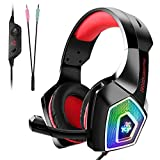 Tenswall Auriculares Gaming Premium para PS4, PC, Xbox One, Cascos Gaming con LED, Auriculares...