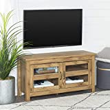 WE Furniture Simple Wood Universal Stand for TV's up to 50' Flat Screen Living Room Storage Entertainment Center, Barnwood
