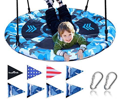 Saucer Tree Swing ,Giant 40 Inches with Carabiners and Flags, 700 lb Weight Capacity, Steel Frame, Waterproof, Easy to Install with Step by Step Instructions, Non-Stop Fun! (Blue Camo)