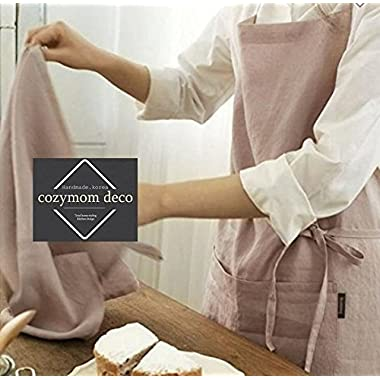 Cozymom Linen 100% Premium Gift Chef Works Handmade Apron Japanese style Cross back Shape Cotton APRON-Indipink color