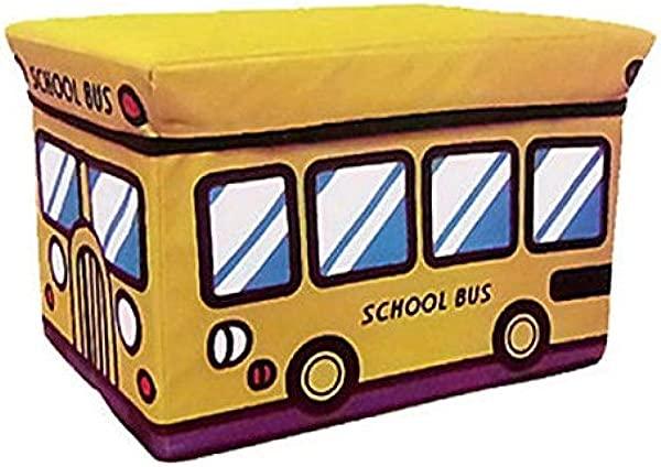 TOPBATHY Kids Storage Ottoman School Bus Shape Footstool Collapsible Storage Box Toy Storage Organizer Yellow