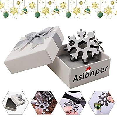 Asionper 18-in-1 Snowflake Multi-Tool, Stainless Steel Snowflake Multi-Tool Snowflake Tool Card 18-in-1 Multi-Tool Card Compact Snowflake Tool Multi Instrument Snowflake Tool Silver+Gift