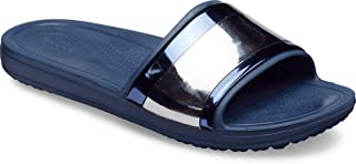 Crocs Women's Sloane MetalBlock Slide Sandal, Multi Navy, 9 M US