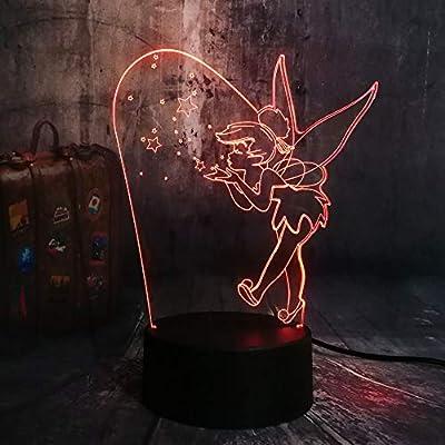 New Cartoon Cute Magic Elf Tinker Bell Miss Bell 7 Color Change 3D LED Night Light Lovely Girl Kids Desk Lamp Birthday Christmas Child Toys Lampara (Magic Tinker Bell)