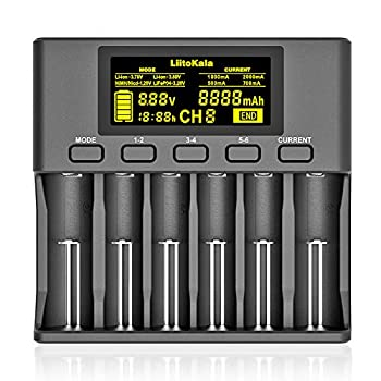 LiitoKala LII-S6 18650 Battery Charger 6 Bay Intelligent Charger LCD Display Auto-Polarity Detection for Li-ion IMR/ICR  LiFePO4 Ni-MH/Cd AA AAA C 21700 26650 18350 14500 RCR123 Batteries & More