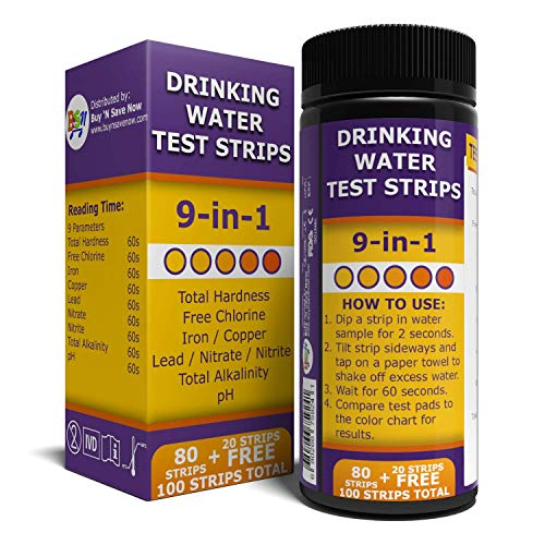 BNS 9 in 1 Drinking Water Test Strips. Accurate Tester Strip for pH, Chlorine, Nitrite, Nitrate, Lead, Total Hardness, and More. Home Test with Easy to Read Testing Results in Seconds.