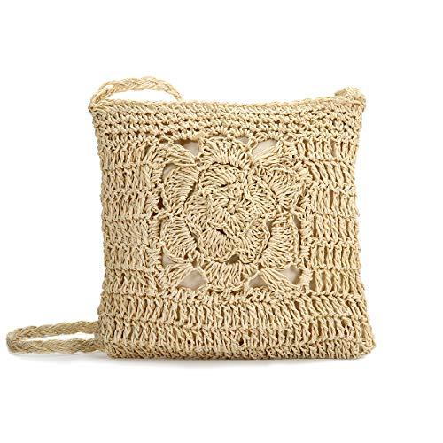 JOSEKO Stroh Crossbody Tasche, Damen Umhängetasche Sommer Strand Vintage Handarbeit Einkaufstasche Woven Handtasche Frauen Stroh Gestrickt Messenger Tasche(Beige#03)