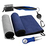 Golf Microfiber Towels Gifts Kit,Golf Cleaning Accessories Set-2 Waffle Golf Towels,Golf Brush,Golf Divot Tool,Suitable for Golf Lovers,Gift for Men Women and Children