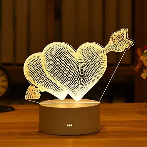 weichuang Lámpara de noche para mesita de noche, romántica, corazón, oso, para niños, decoración del hogar, caja de regalo (color emisor: corazón)