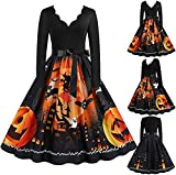 Vestido de fiesta vintage de Halloween de los años 50 para mujer, vestido de fiesta de noche, vestido de fiesta de graduación de manga larga Swing Rockabilly vestido de fiesta de, naranja, XL