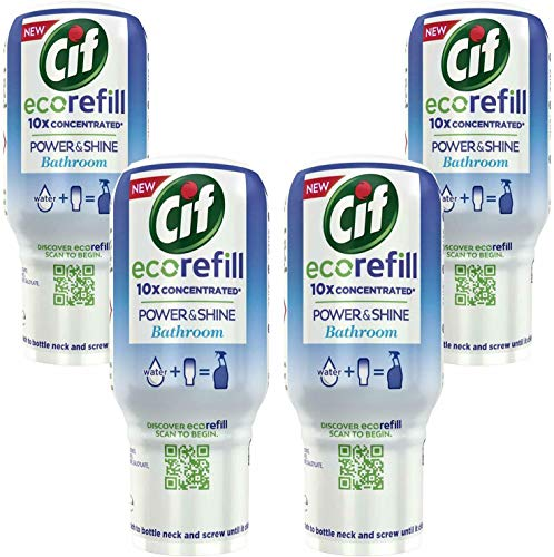 Cif Power & Shine - Recambio para limpieza de baño (4 recambios ecológicos de 700 ml)