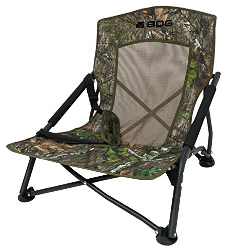 BOG Low Profile Turkey Chair in Mossy Oak Obsession with Lightweight Aluminum Construction, Easy Folding Design for Hunting, Shooting and Outdoors