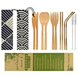 UPTRUST 2 Set Bamboo Cutlery Set Bamboo Utensils 6-piece Reusable Bamboo Flatware Set Travel Utensils 7.8 Inches Bamboo Knife, Fork, Spoon, 3 colors Metal Straw with Clean Brush (Rose Gold Straw)