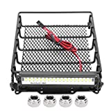 VGEBY Rc Portaequipajes de techo, portaequipajes de metal RC para automóvil, portaequipajes, canasta de equipaje superior universal para automóvil con ajuste LED para MN D90 99S, modelo de automóvil R