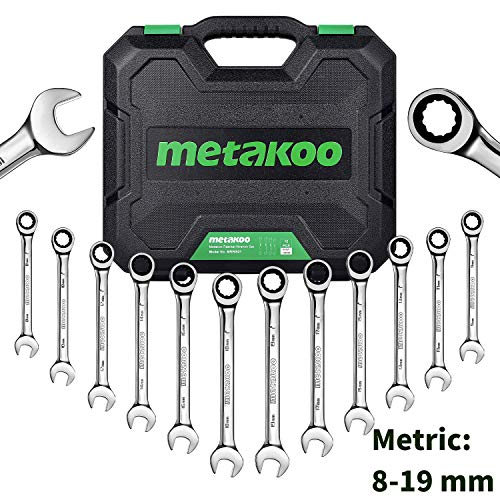 METAKOO Metric Ratchet Wrench Set, 12-Piece Metric Ratcheting Wrench Set with Case, 72 Tooth...