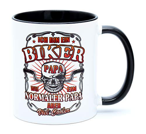 Ich bin ein Biker Papa wie normaler aber viel cooler Kaffee Tasse Becher mit Spruch Geburtstag Geschenk für Motorradfahrer Männer Artikel Idee Zubehör Ausrüstung Accessoires Herren Motorrad Chopper