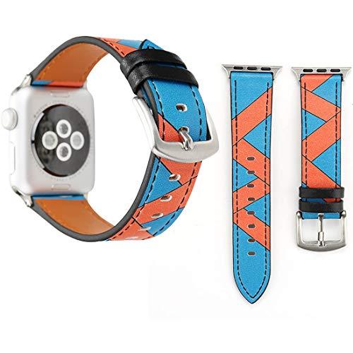 LM para Apple Watch Series 3 y 2 y 1 38mm patrón de Fresa Reloj de Pulsera de Cuero Genuino 2021 (Color : Color9)