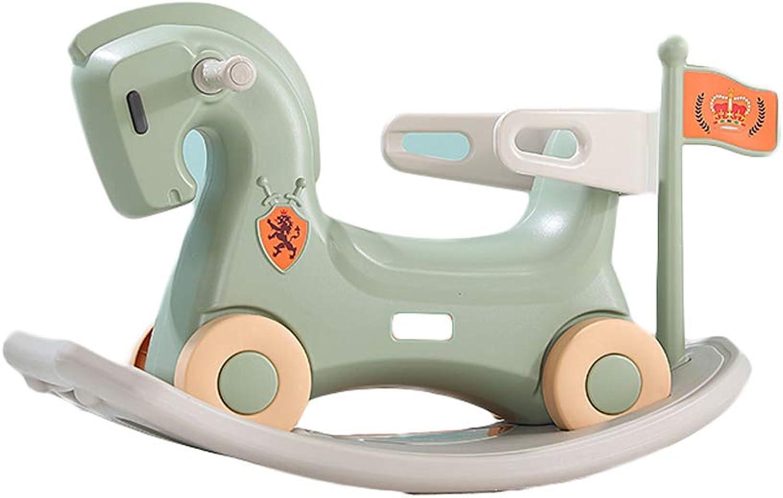 LITING Spielwaren der Schaukelpferdkinder Baby Schaukelpferdplastik Groe Doppelnutzung 1-2-6 Jahre alt mit Musikreiten (Farbe   Grün)