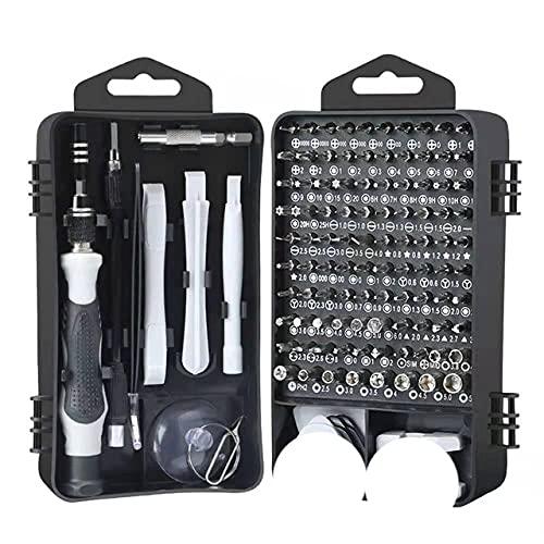 122pcs en juego de destornilladores fessional para puntas magnéticas Destornillador Herramienta multifuncional Mini caja de herramientas de mano para reparación-122pcs Negro gris