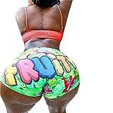 HengShunRui Women Sexy Funny Print Booty Shorts High Waist Workout Twerk Shorts Stretch Clubwear Bottoms H Green M