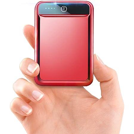 モバイルバッテリー 大容量 小型 10000mAh 【PSE認証済】急速充電 2.1A スマホ充電器 軽量 USB2ポート 2台同時充電可能 LED液晶画面 残量表示 携帯充電器 iOS/Android対応(レッド)