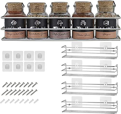 Gewürzregale aus Metall - 4 Stück - fixierbar ohne Bohren - Für Gewürze, als Schrankeinlage oder Organizer - Größe 32,2 x 6,5 x 7,4 cm (Chrom)