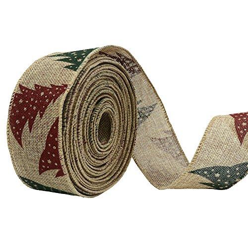 4,9 m/5meters rétro Lin Couronne de ruban de Noël Cadeau désherbage Arts Crafts Emballage cadeau