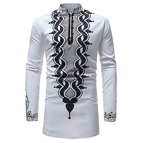 Beauté Top Manches Longues Hommes, Automne Hiver Homme Print Africaine Shirt Chemisier Tee Outwear Blouse Manche Longue Impression Sweat Veste Personnalité Hoodies (X-Large)