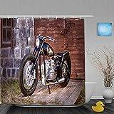 Mozenou Personalisierter Duschvorhang,Motorrad Stein Ziegel Wand Holztür Boden grünes Gras schwarz Motorrad,wasserabweisender Badvorhang für das Badezimmer 180 x 210 cm