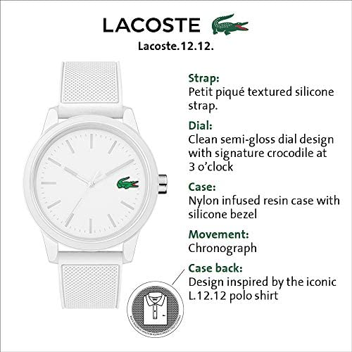 Lacoste Men's TR90 Quartz Watch with Rubber Strap, White, 20 (Model: 2010984) WeeklyReviewer
