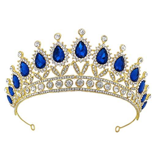 Minkissy Corona Barroca Vintage Crystal Rhinestone Novia Corona Y Tiara Princesa Reina...