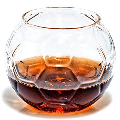 Soccer Whiskey Glass - Rocks Glass for Rum, Tequila, Scotch, Glasses- Whiskey Gifts - 10oz Cocktail, Lowball, Old Fashioned Glass (Set of 2) Unique Bar Decor & Bourbon Gifts by Prestige Decanters