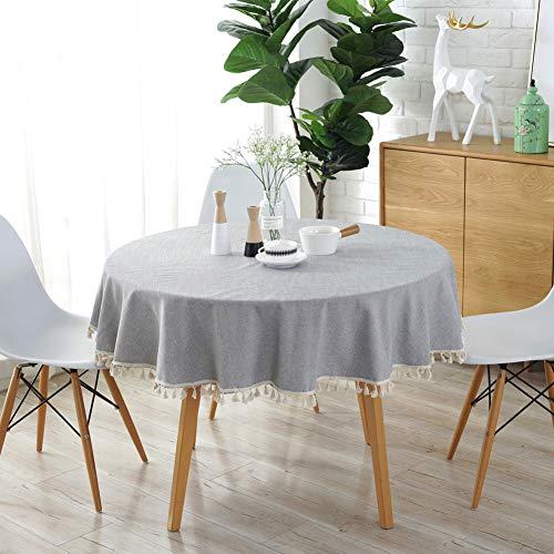 Meiosuns Runde Tischdecke Volltonfarbe Quaste Tischdecken Baumwolle Tischdecke Geeignet für Home Küche Dekoration, Verschiedene Größen (Durchmesser 120 cm, Hellgrau)